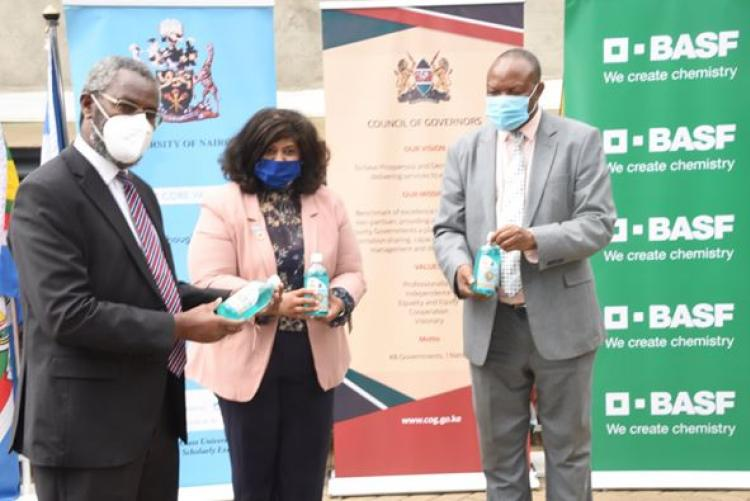 THE University of Nairobi donated 8,000 500ml liquid hand wash to the Council of Governors, the hand wash is branded ChiroClean (Chiromo Clean), a product of the Chemistry Department, Chiromo Campus.  Leading the University of Nairobi team was the Vice Chancellor, Prof. Stephen Kiama Gitahi