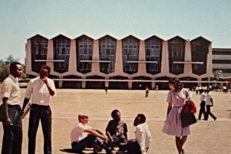 From the archives: Students relax at the Great Court when UoN was known as the University College Nairobi.